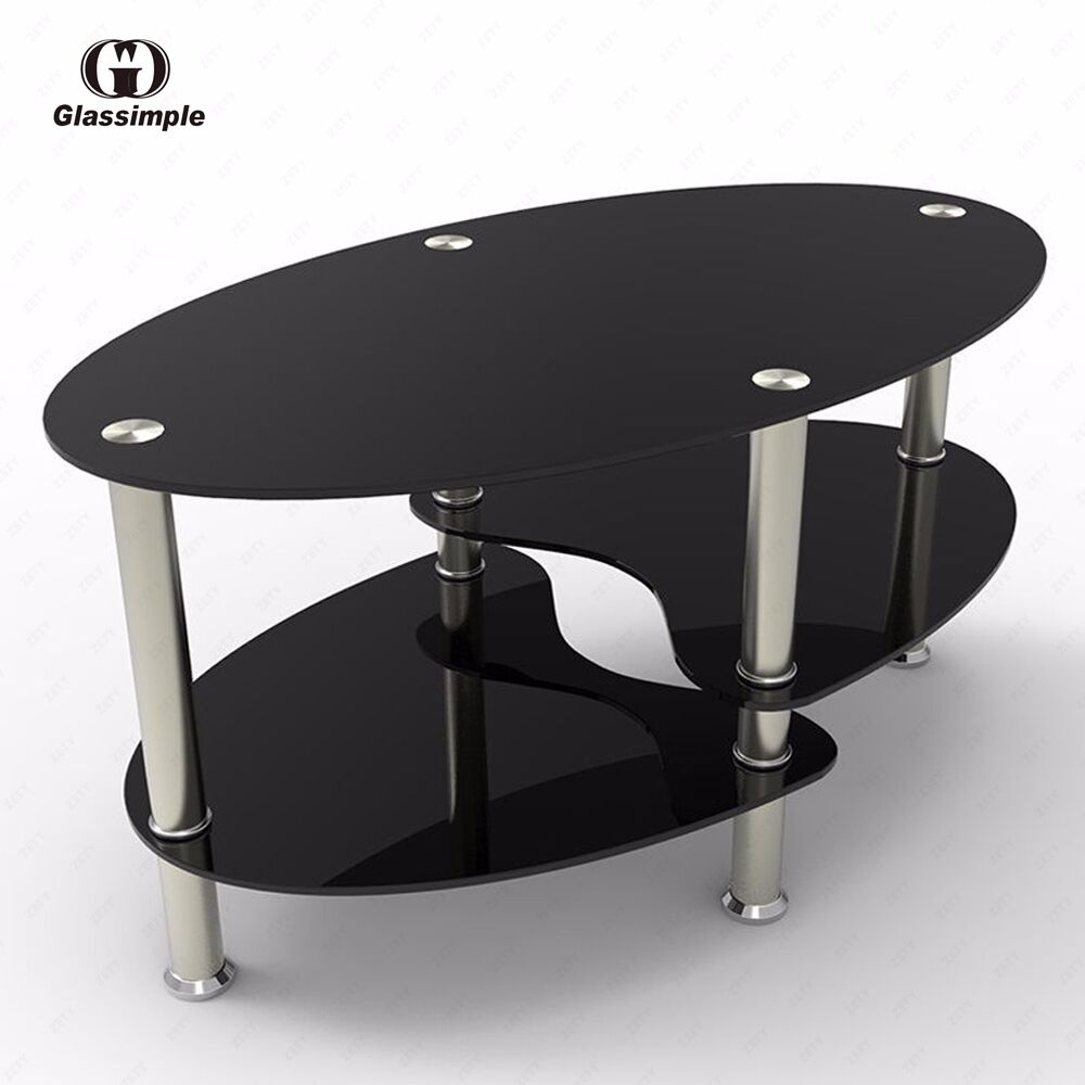 Black glass oval side coffee table shelf chrome base living room furniture ebay Black and chrome coffee table