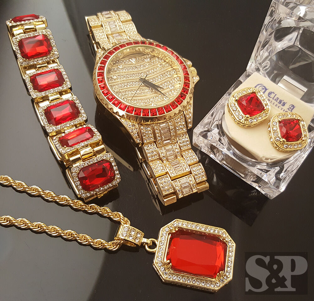 Men Hip Hop Iced Out Rick Ross Watch Amp Ruby Necklace