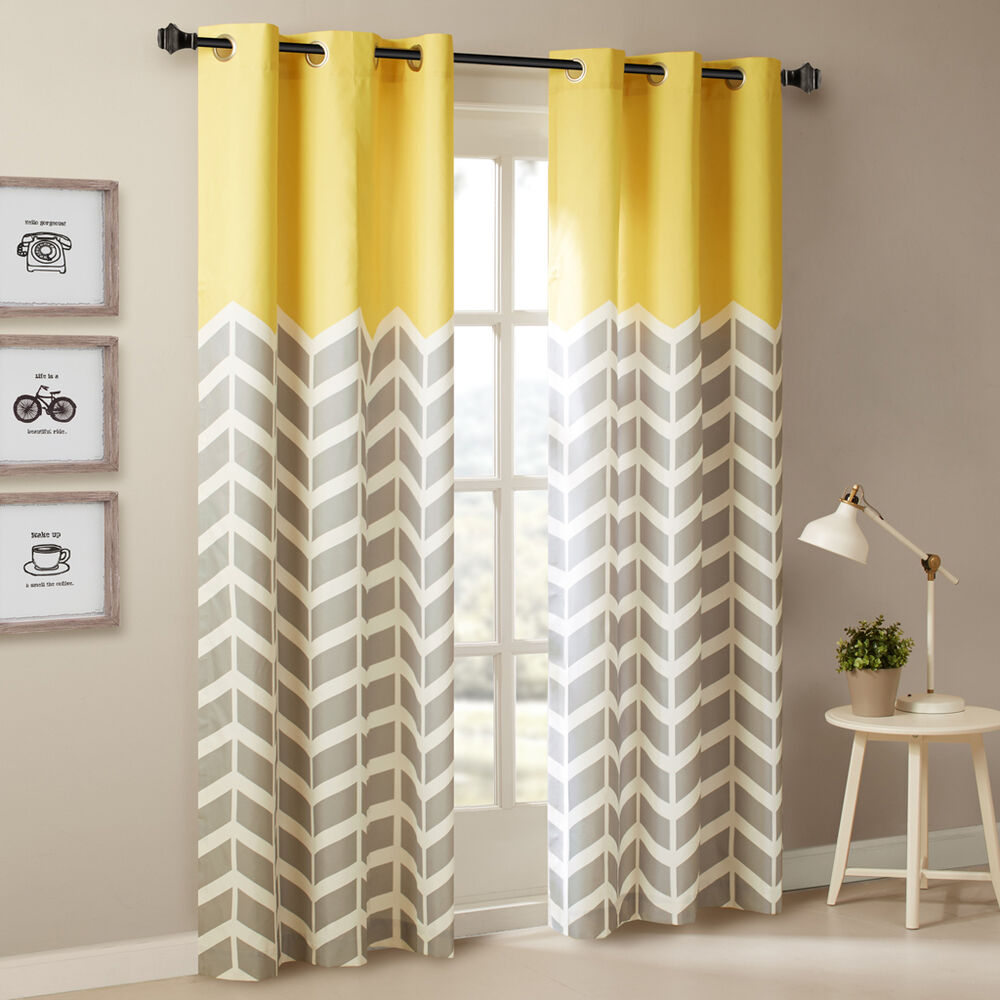 "BEAUTIFUL MODERN GREY YELLOW BLUE AQUA CHEVRON 63"" OR 84"