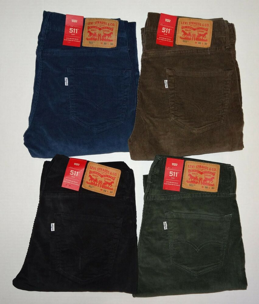 Levi's Men's 511 Slim Fit Corduroy Pants Green Brown ...