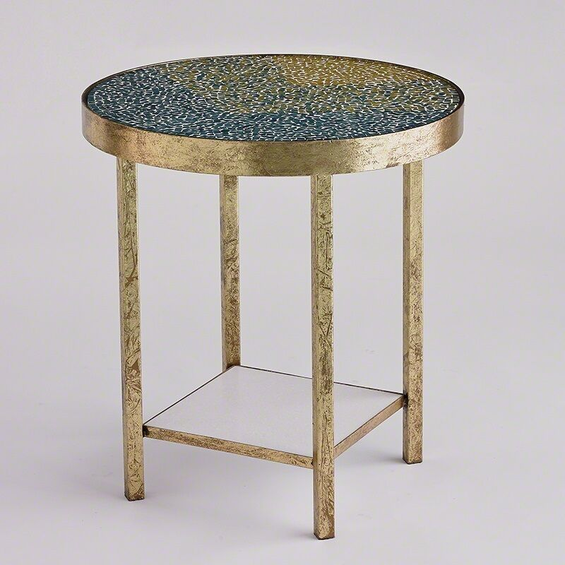 """Antique Brass And Glass Round Coffee Table: 24"""" H Beautiful Side Cocktail Table Green Glass Tile Top"""