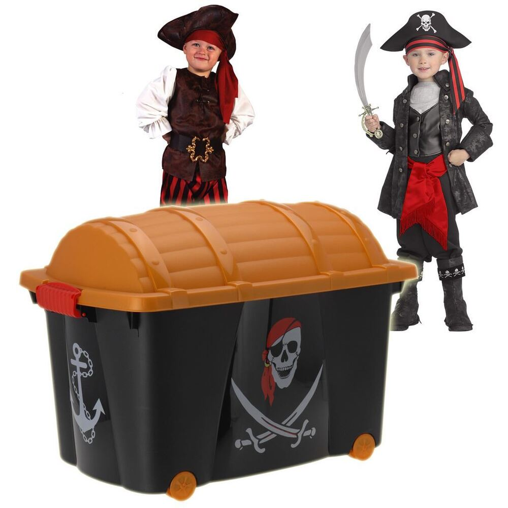 Bookshelf Storage Chest Kids Toy Box Plastic Play Room: Kids Plastic Toy Box With Pirate Design & Wheels Children