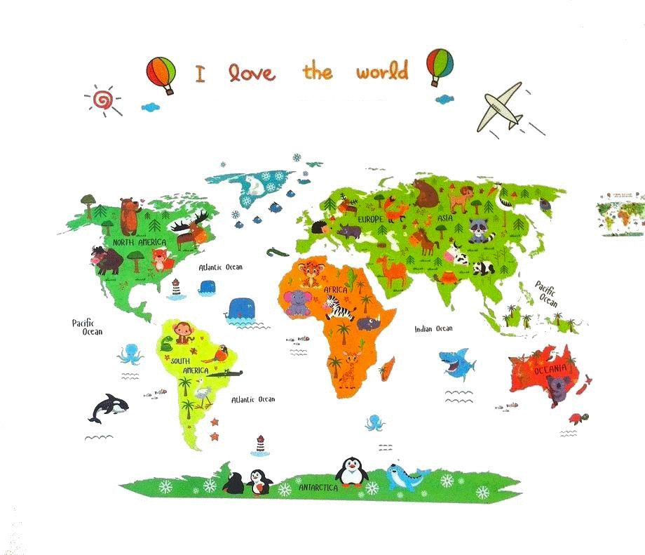 Animal World Map Kids Educational Nursery Wall Art