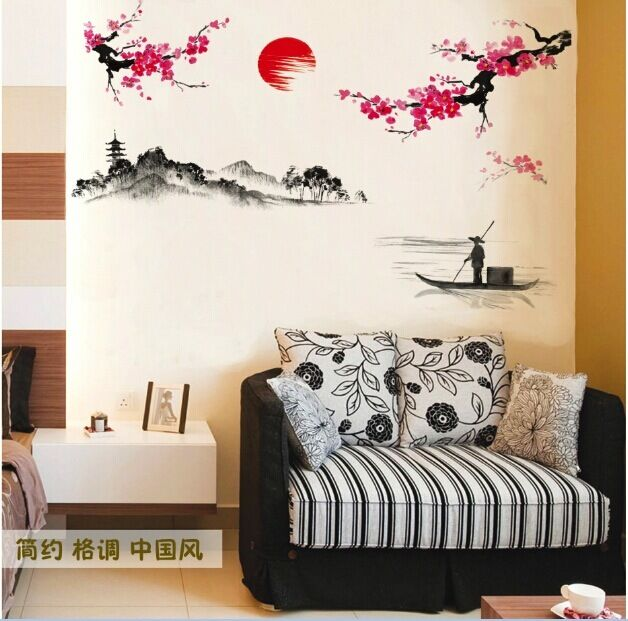 Sakura Japanese Pink Cherry Blossom Tree Branch Decor Wall