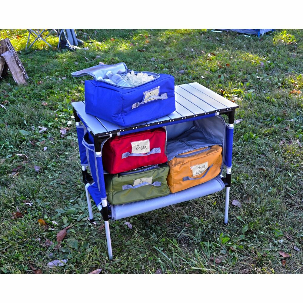 Portable Camping Table Roll Up Camp Kitchen Storage