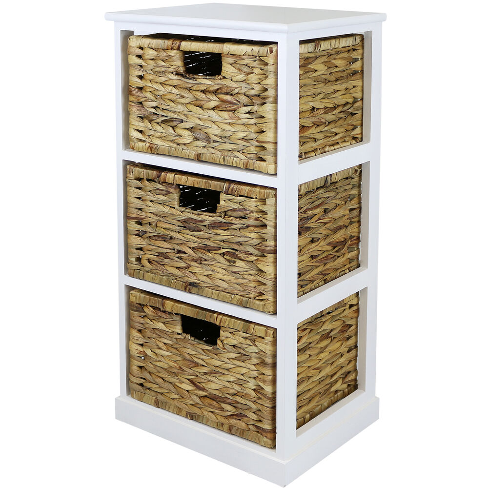 Hartleys white 3 basket chest home storage unit wicker for Bathroom chest