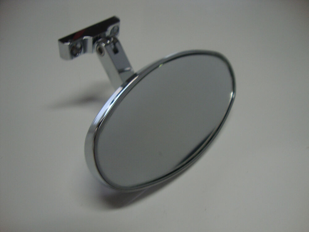 Chrome Rear View Mirror Oval Bolt On Universal Chevy Ford Hot Rods 6616 Ebay