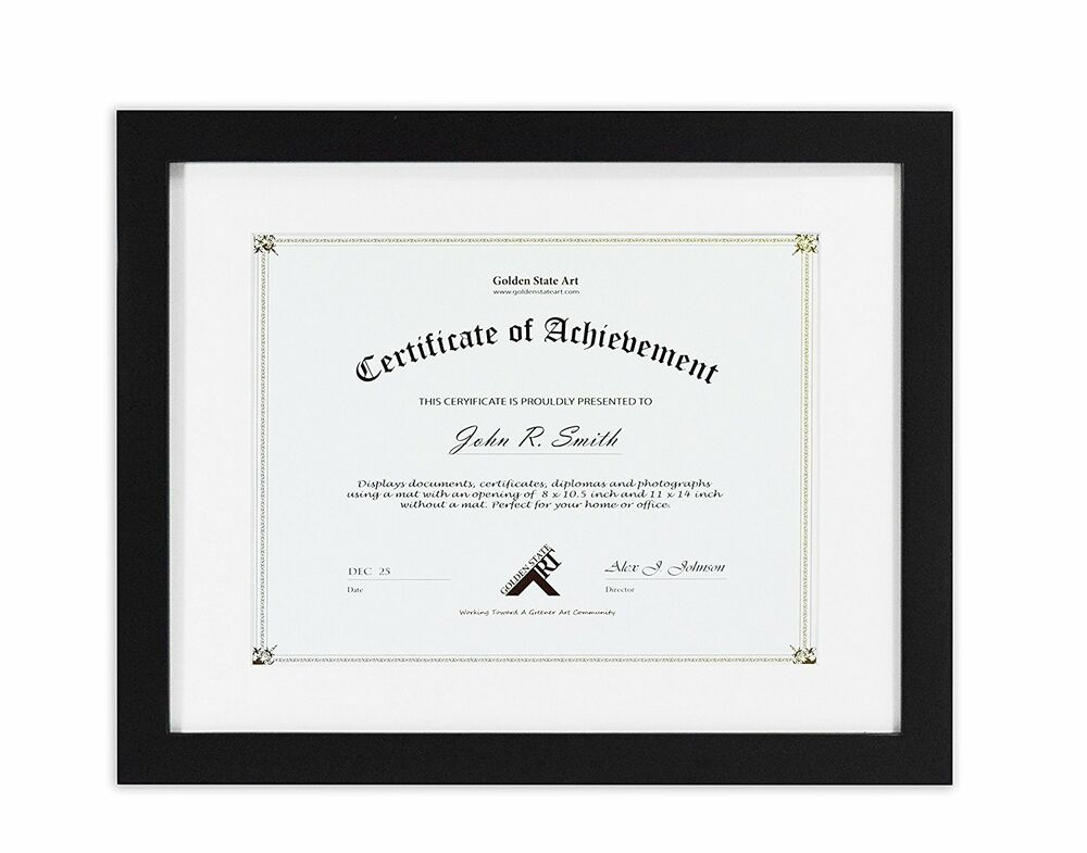 11x14 Black Document Wood Frame With White Mat For 8 5x11