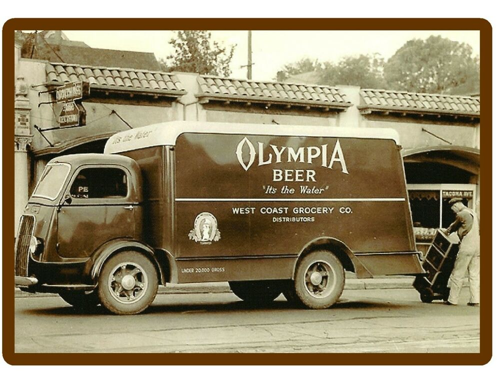 Man Cave Trucks For Sale : Vintage olympia beer truck refrigerator tool box magnet