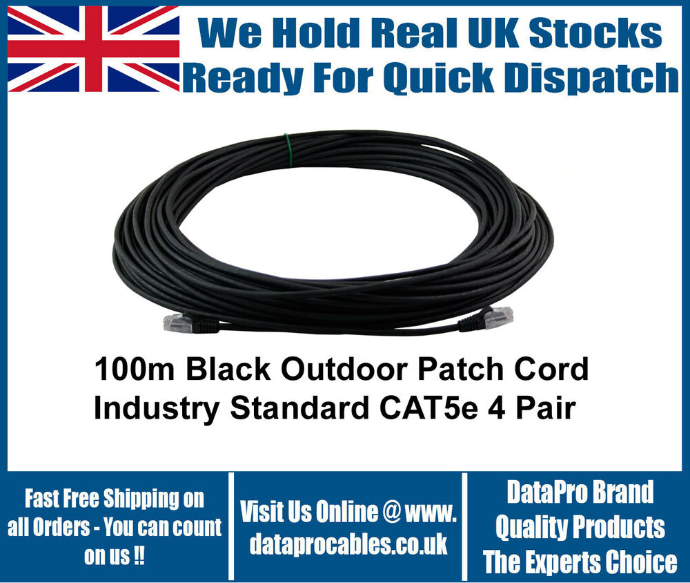Black Outdoor 100m Meter Cat5e Rj45 Ethernet Cable Network Patch Lan Cat 5e Cords Cables Router Sky Ebay