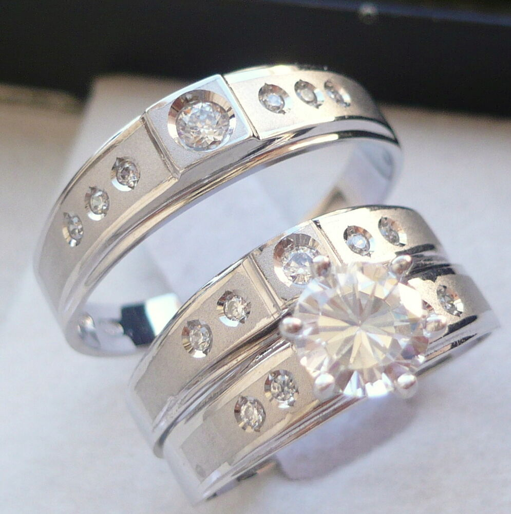 wedding ring sets for her 10k solid white gold his amp 3 wedding engagement 9991