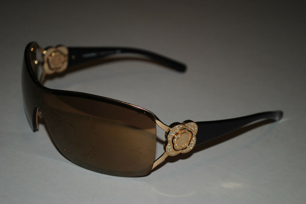 a4427af4e8 Chanel 4164b Swarovski Crystals Authentic Brown Gold Womens Camellia  Sunglasses