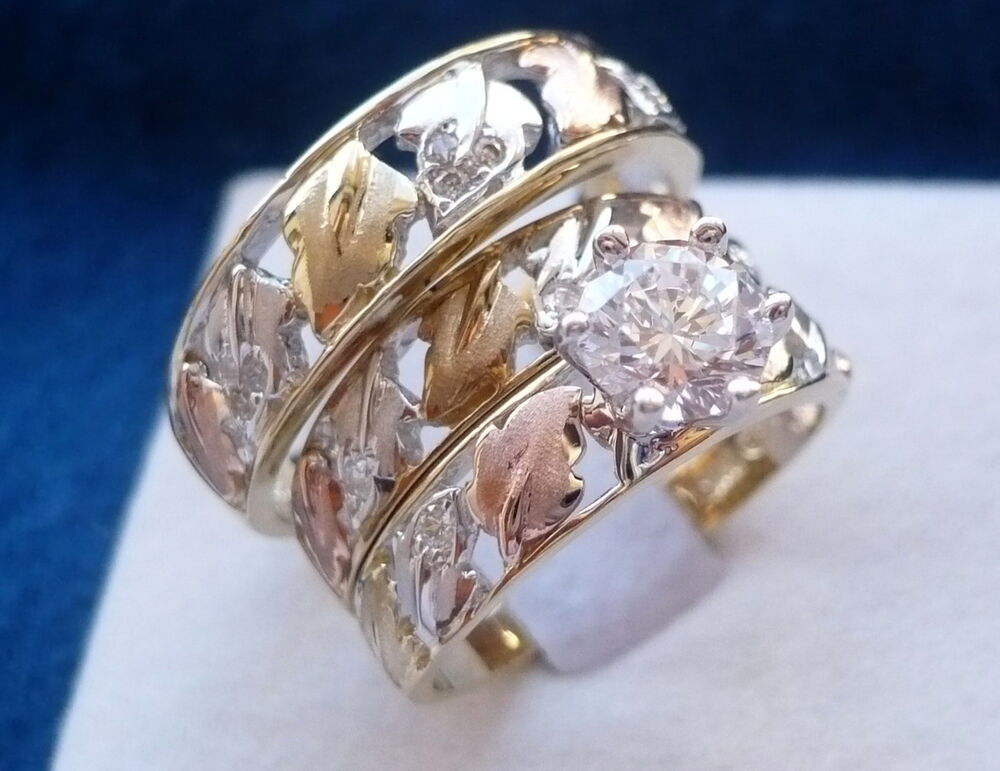 10K SOLID TRI COLOR GOLD HIS Amp HER 3 PIECE WEDDING ENGAGEMENT BAND RING SET