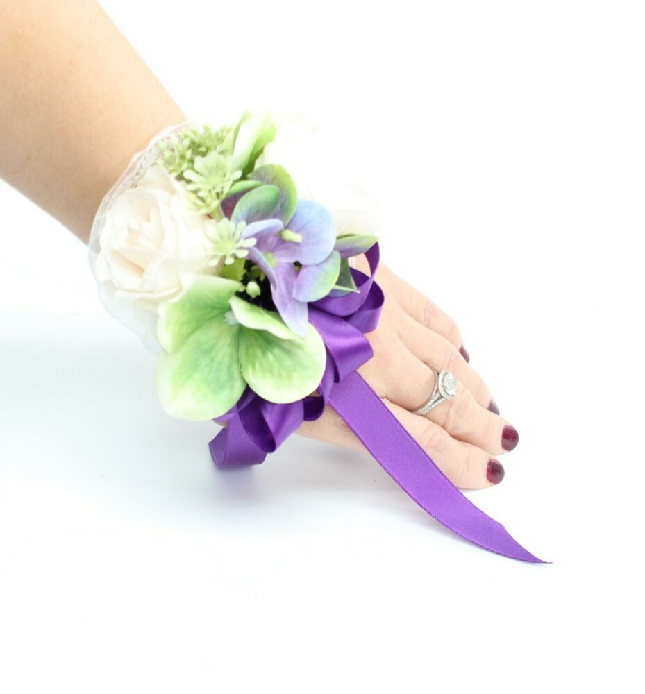 2pc Wrist Corsage & Boutonniere: Turquoise And Purple
