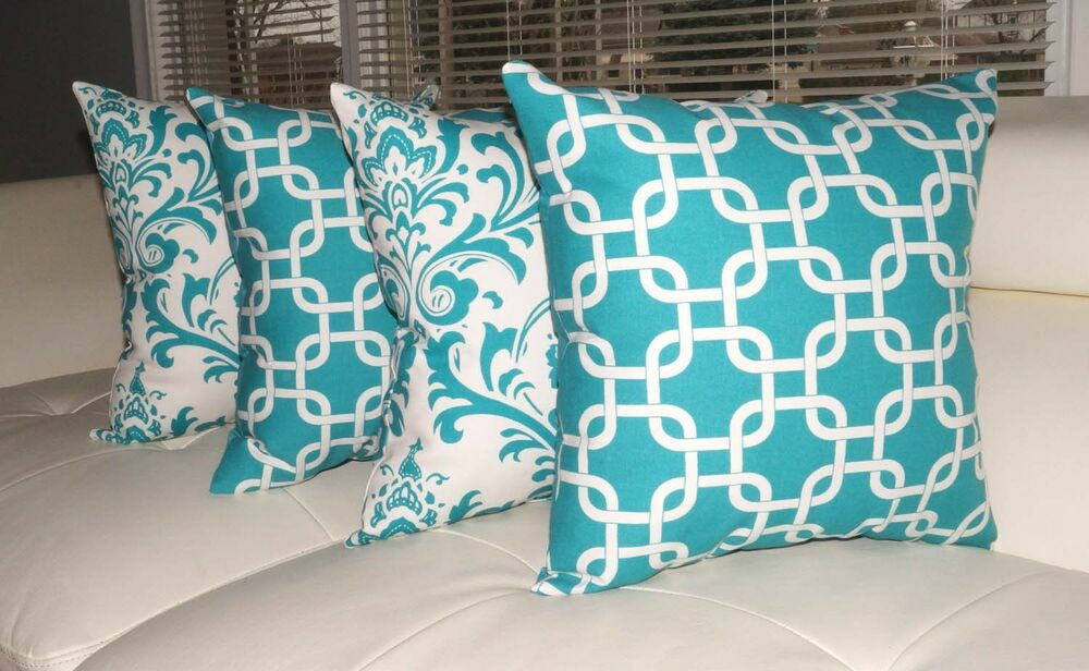 Throw Pillows Set Of 4 : Turquoise Decorative Throw Pillows, Geometric Pillow, Damask Pillow - Set of 4 eBay
