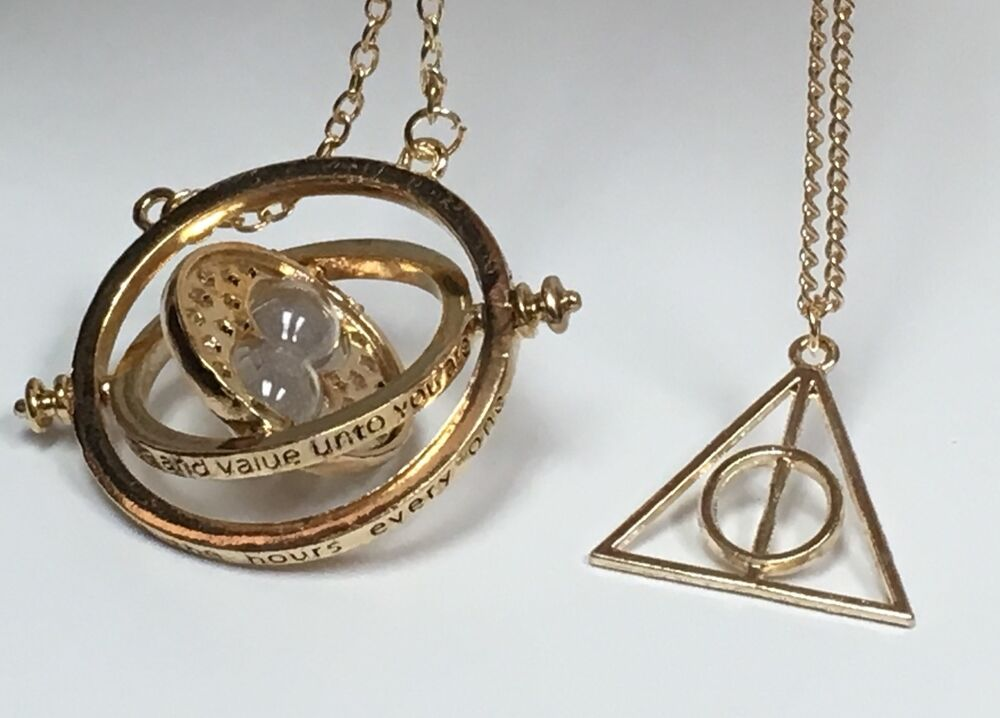 harry potter time turner necklace gold deathly hallow