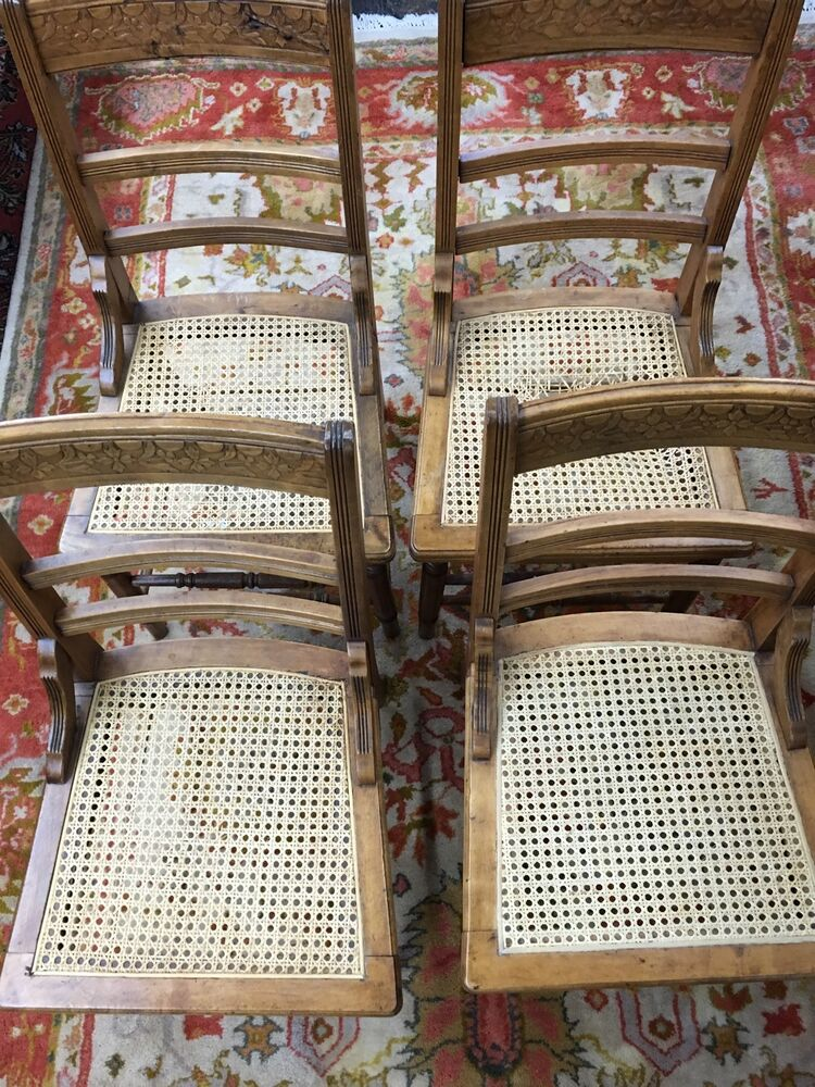 Antique set 4 oak carved back dining room chairs chair s for 4 dining room chairs ebay
