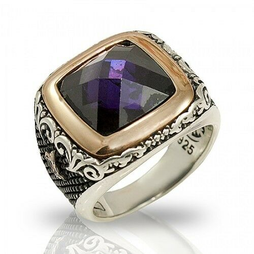 handmade mens rings turkish ottoman handmade amethyst 925 k sterling 6213