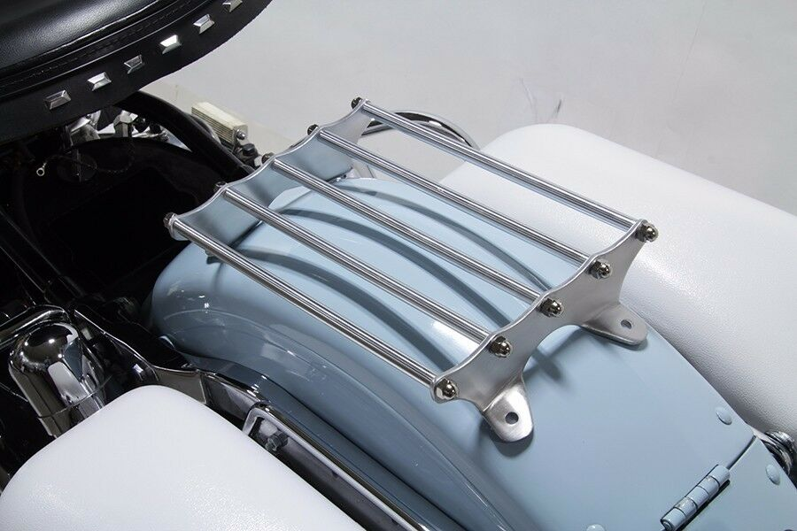 Old Style Polished Aluminum Luggage Rack Harley Panhead