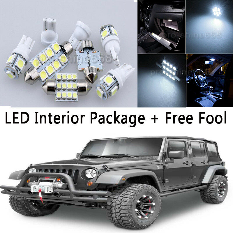 5x bulb car led interior lights package kit for 2007 jeep wrangler jk whk 2 door ebay for Led car interior lights ebay