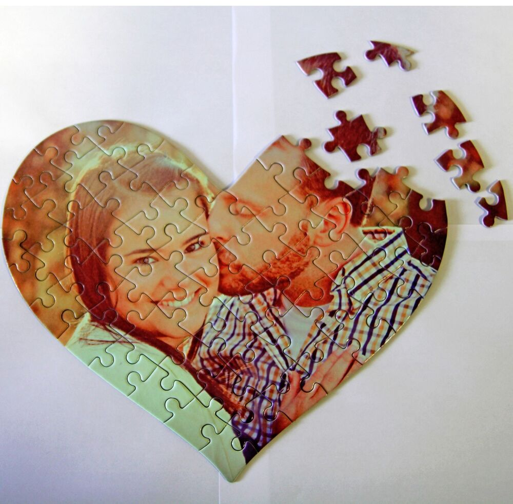 custom personalized puzzle pieces  heart shape puzzles