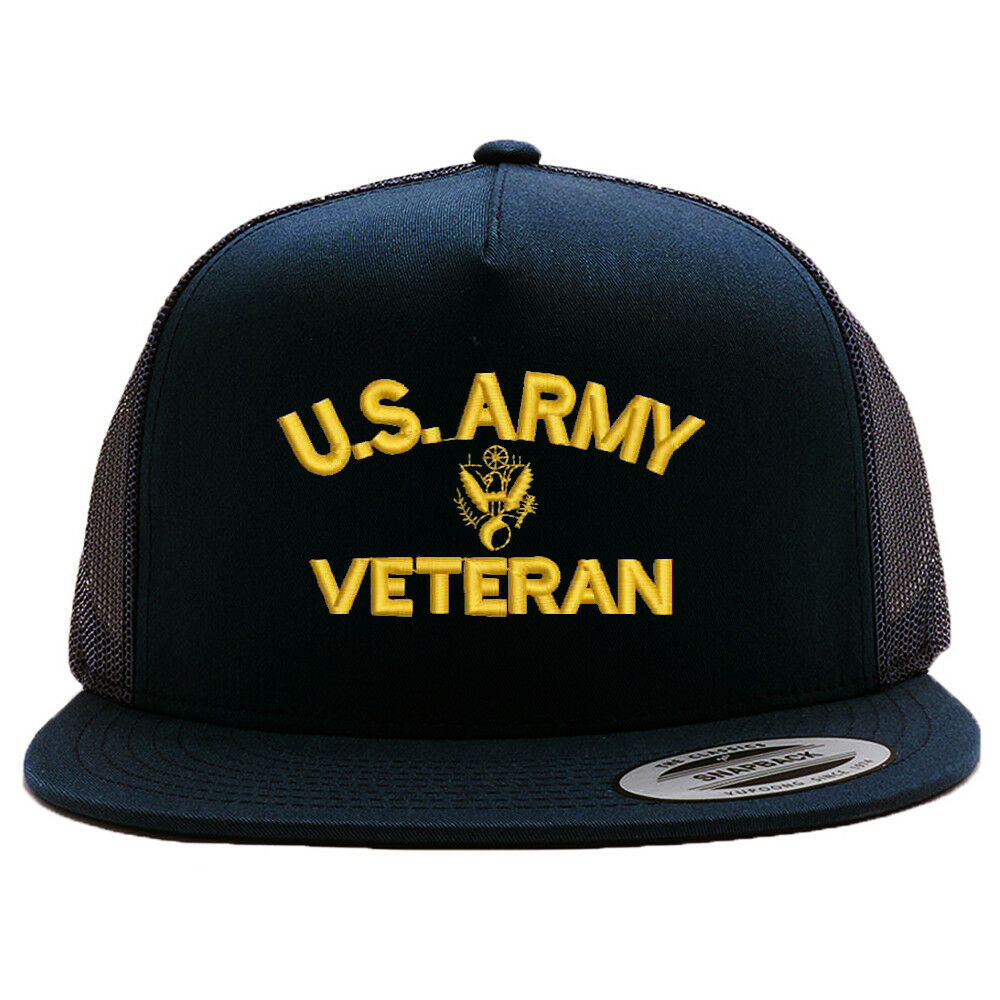 235ce71ad0 Details about U.S. ARMY VETERAN MESH TRUCKER SNAP CLOSURE CAP HAT BLACK