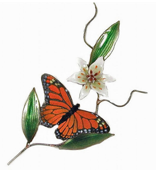 Wall Art Monarch Butterfly And White Lily Metal Wall
