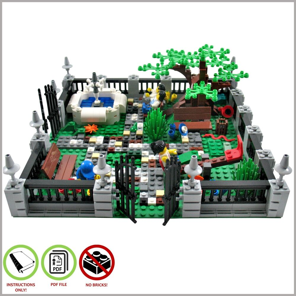 lego moc town garden custom model pdf instructions manual ebay. Black Bedroom Furniture Sets. Home Design Ideas