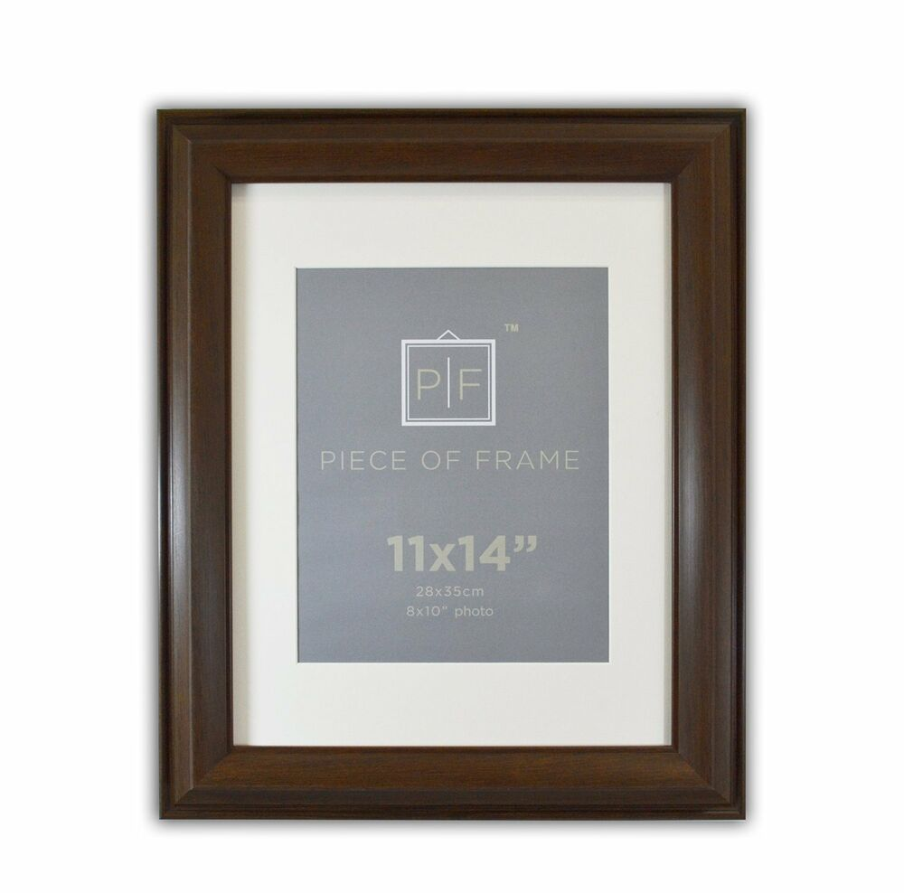11x14 Brown Color Photo Frame 2 Inch Wide With Ivory Mat