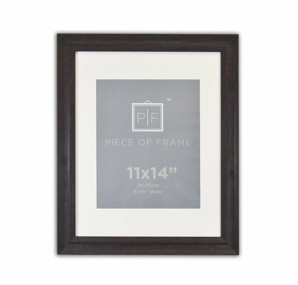 11x14 Dark Brown Photo Frame With Ivory Mat For 8x10