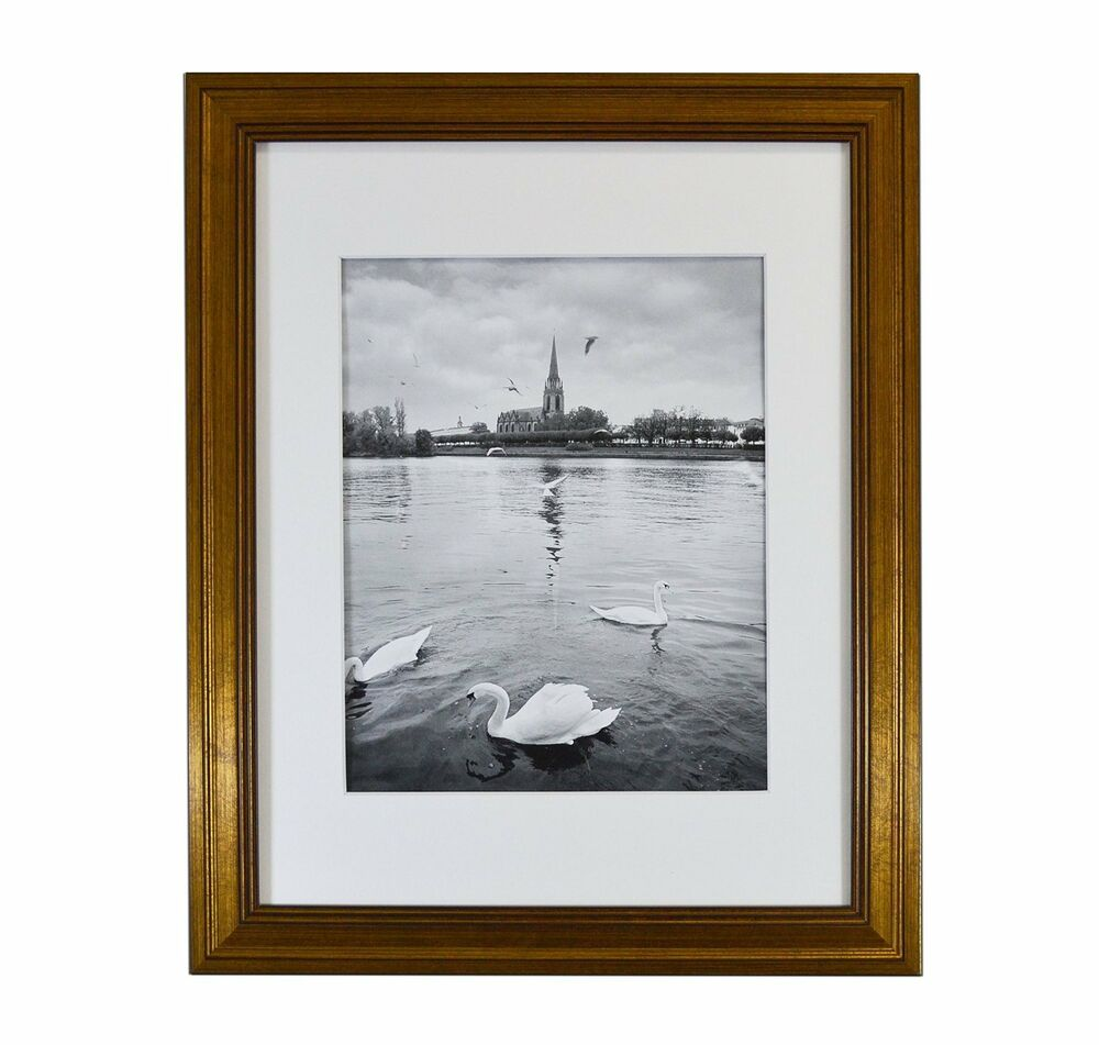 11x14 photo frame  dark gold color  with white mat for