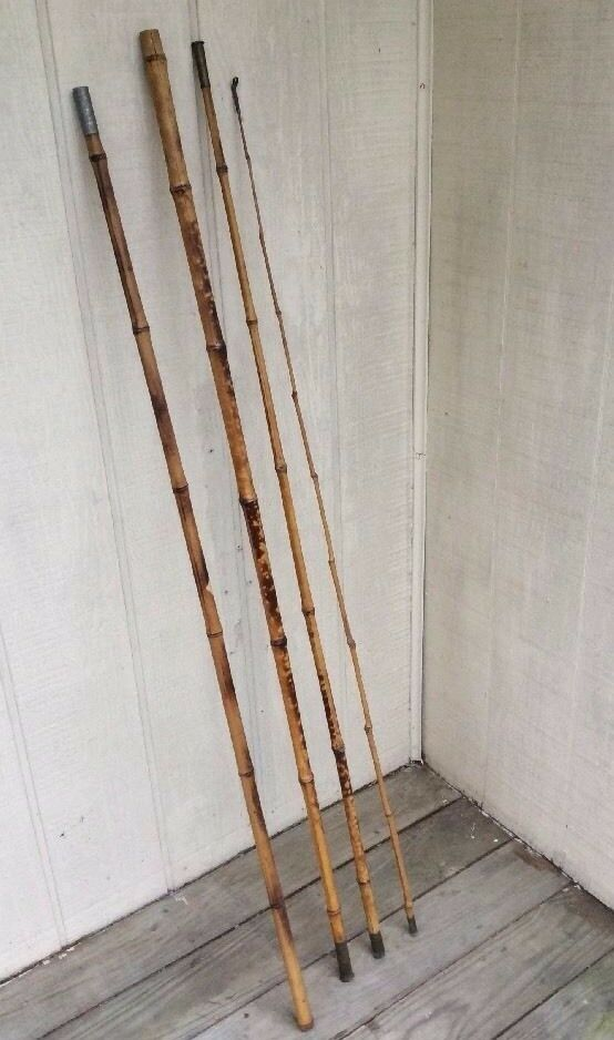 Antique Vintage 4 Piece 13 8 Bamboo Cane Fishing Pole