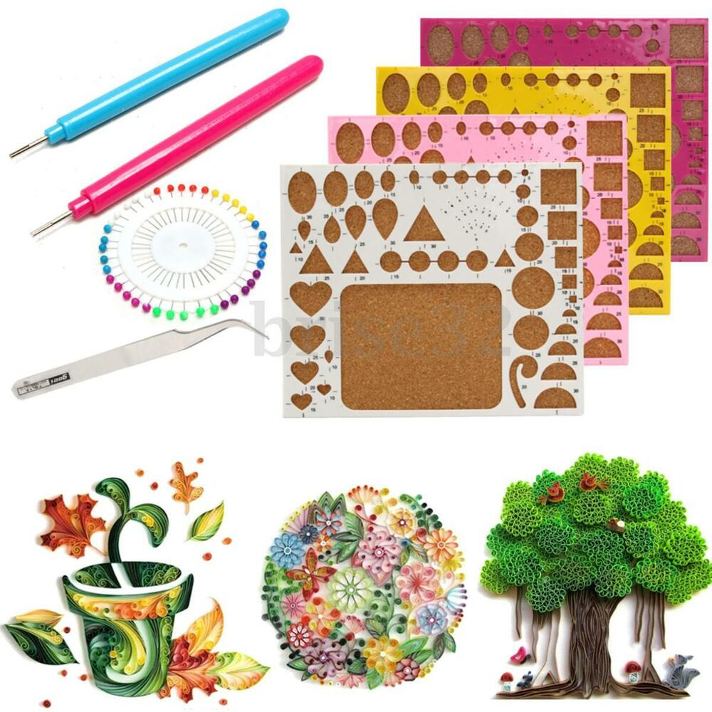 Paper DIY Set Quilling Tools Template Mould Board Tweezer Pins Slotted ...