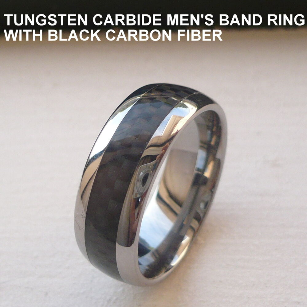 MENS TUNGSTEN CARBIDE WEDDING BAND RING WITH BLACK CARBON FIBER