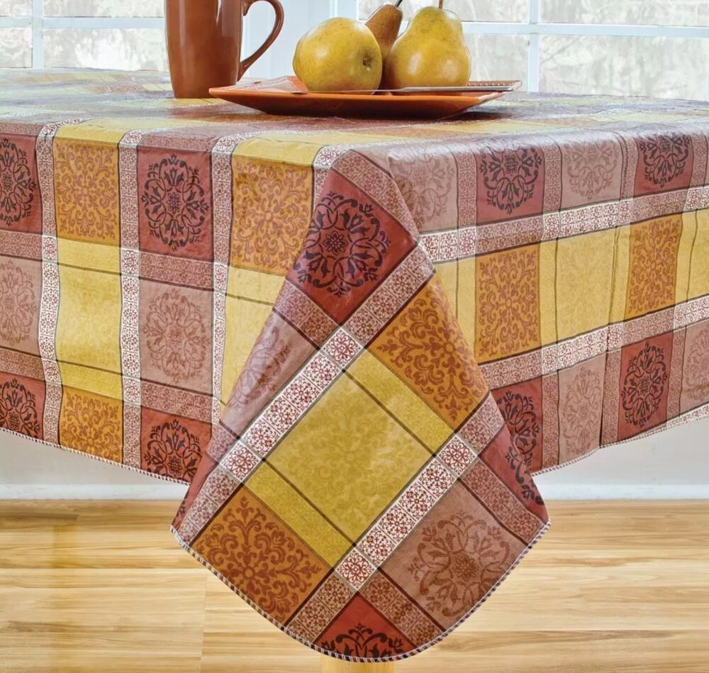 Morocco Tuscan Plaid Vinyl Tablecloth Oblong 60 X 102