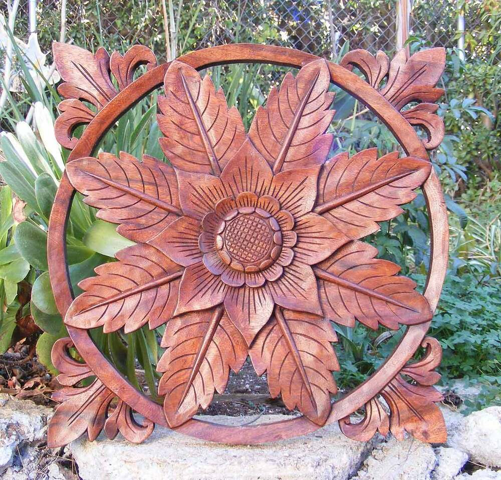 Bali tropical flower plaque mahogany wood relief wall