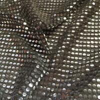 SILVER on BLACK 6mm Sequin fabric shiny sparkly material sold metre fancy dress