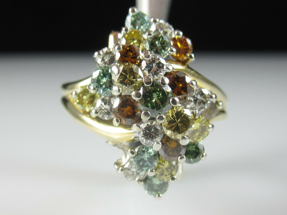 multi colored diamond cluster ring 18k yellow gold. Black Bedroom Furniture Sets. Home Design Ideas