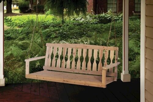 Premium Unfinished Cypress 4 Ft Wooden Porch Swing Hanging
