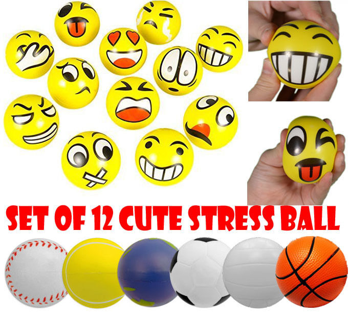 set of 12 cute smiley sports anti stress ball emoji squeeze therapy reliever ebay. Black Bedroom Furniture Sets. Home Design Ideas