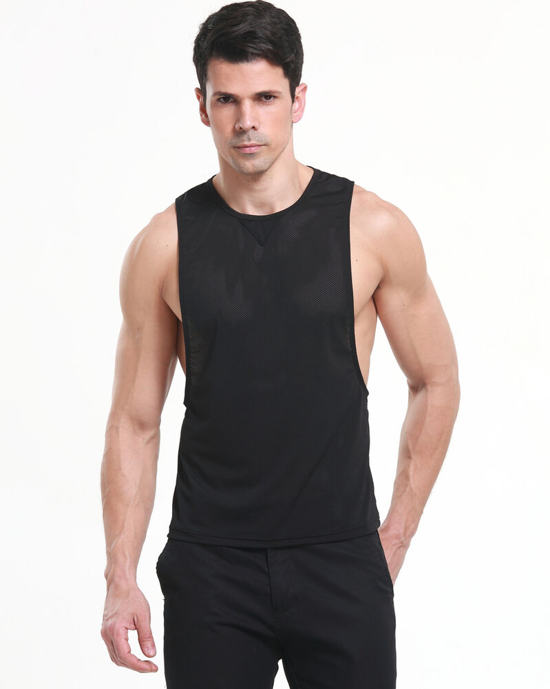 db88f993 Details about Mens String Mesh Muscle Vest Gym Trainning Tank Top T-Shirts  Fish Net dry fast
