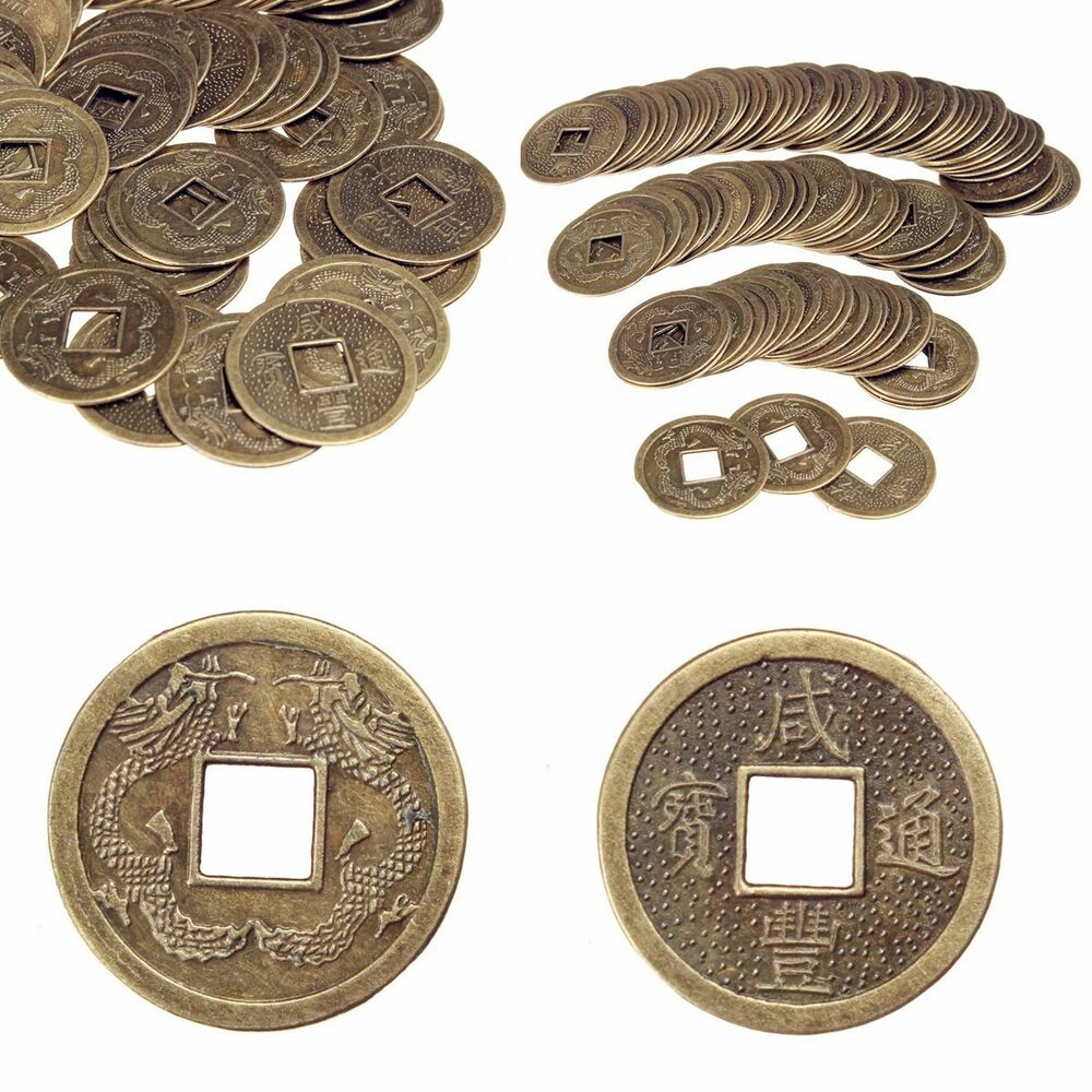 hot 100pcs feng shui chinese dragon phoenix coins lucky. Black Bedroom Furniture Sets. Home Design Ideas