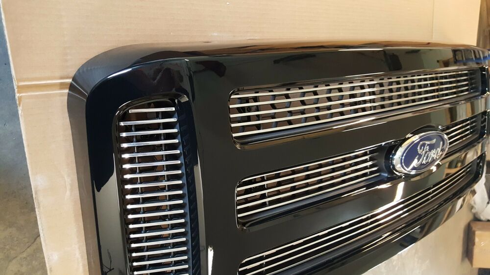 New Ford Excursion >> 2005-2007 Ford PAINTED black BILLET INSERTS Grille Grill F250 F350 F450 | eBay