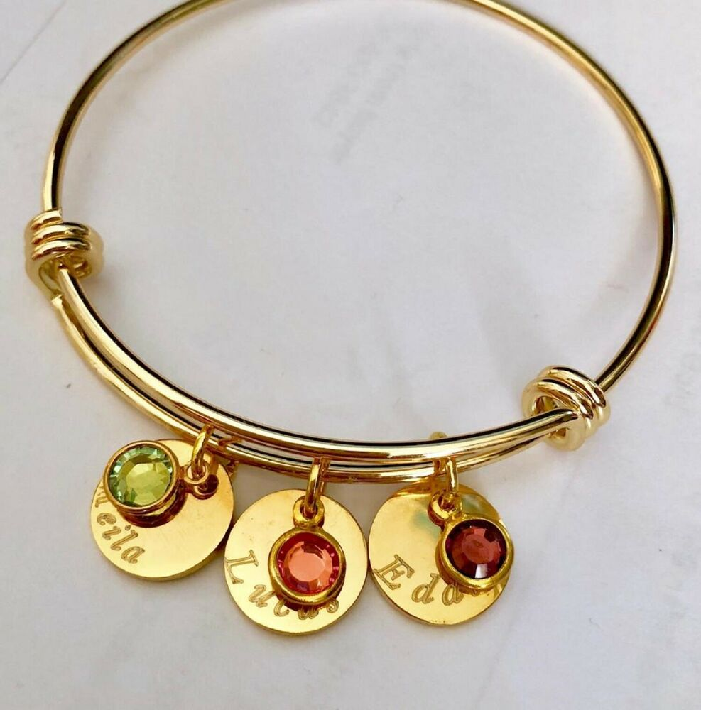 Gold Jewelry Bracelets: Personalized Name Birthstone Bracelet