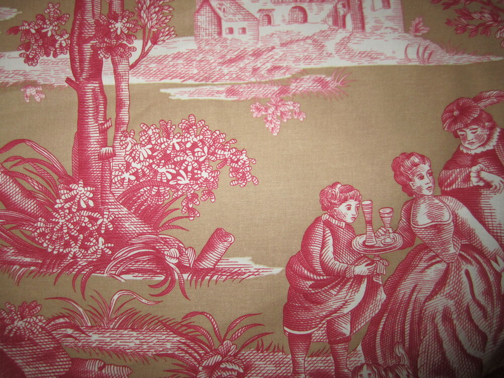Gorgeous pierre deux versailles red pink taupe sand french for French toile fabric
