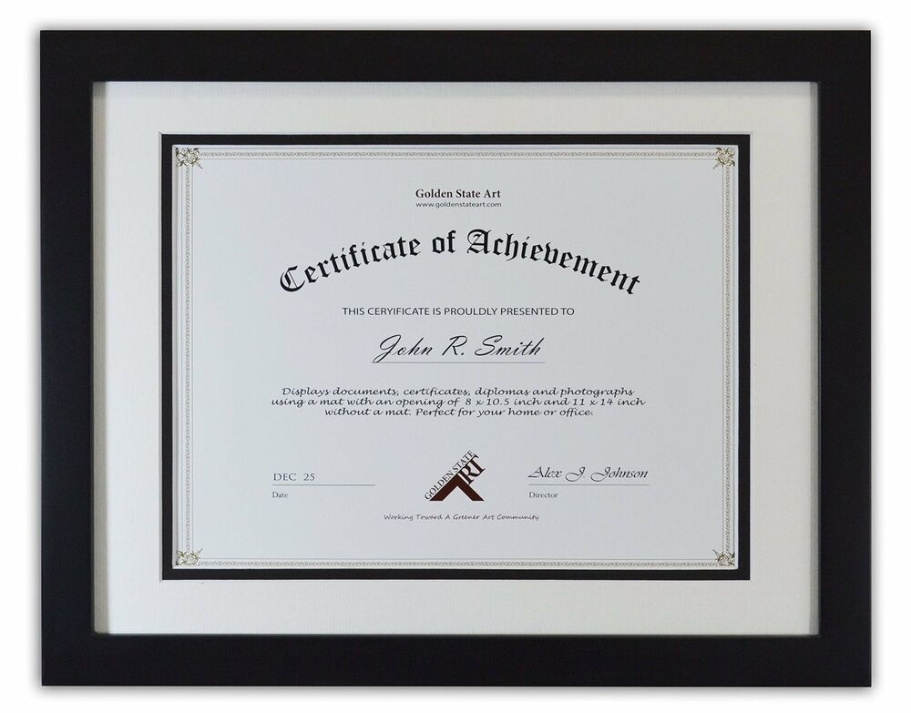 11x14 Black Color Document Photo Wood Frame With Double