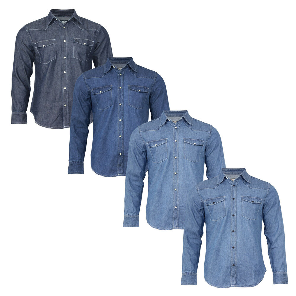 New men 39 s traditional denim shirt with flap pocket and for Mens shirts with snaps instead of buttons
