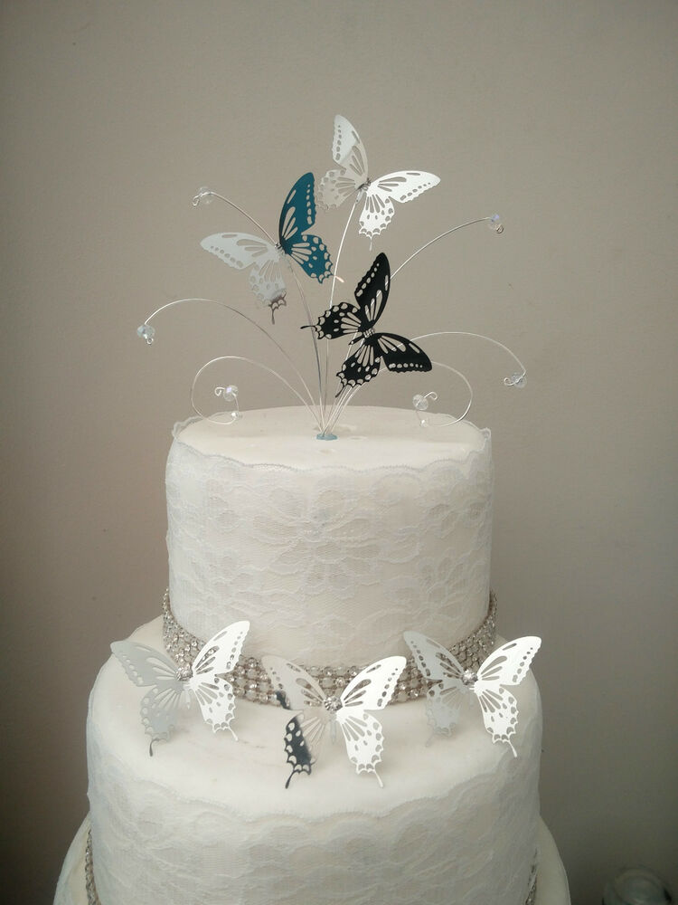 Butterfly Cake Decoration Uk : Mini Silver butterfly wedding cake topper + 3 butterfly ...