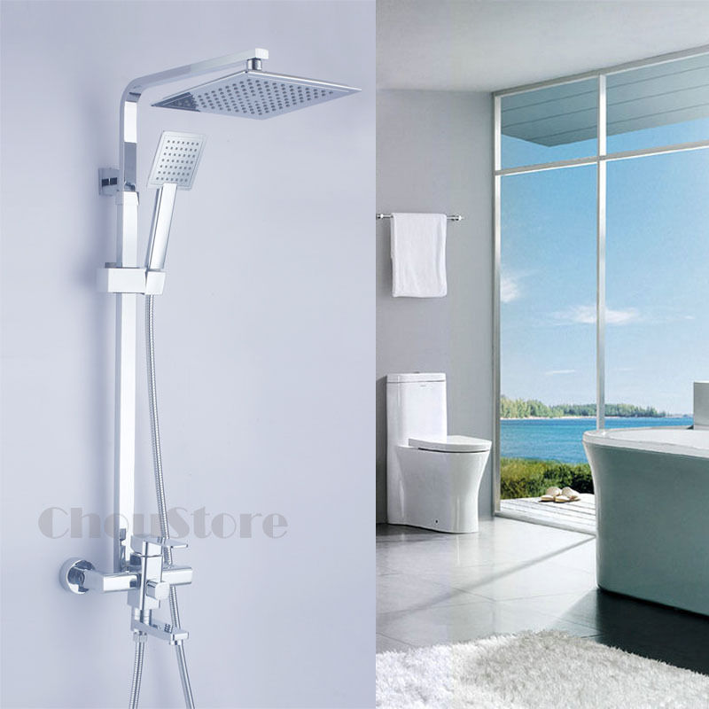 Wall Mounted 8 Quot Shower Faucet Set With Tub Spout Overhead