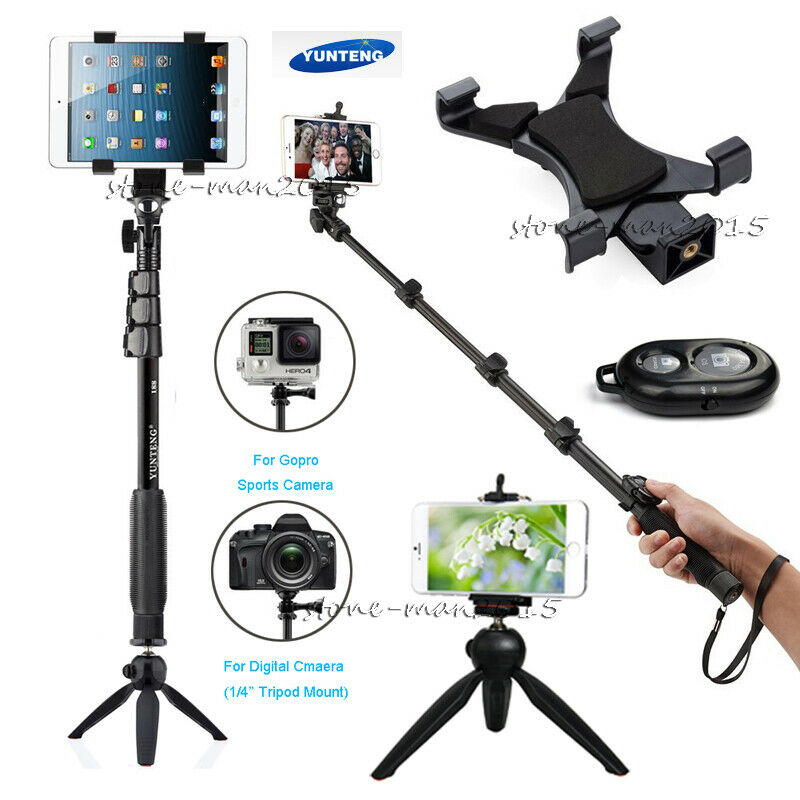 selfie stick monopod tripod bluetooth remote for ipad gopro camera iphone 7 6 se ebay. Black Bedroom Furniture Sets. Home Design Ideas